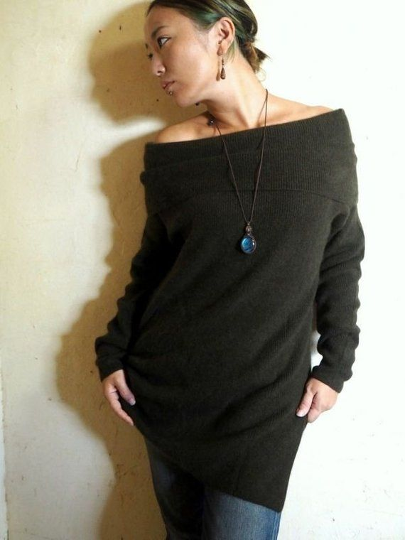 1c11cf50c48b1a Cashmere MIX 2way Asymmetry loose fit sweater 3 colors