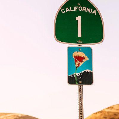 Highway 1 scenic route sign, Santa Barbara County