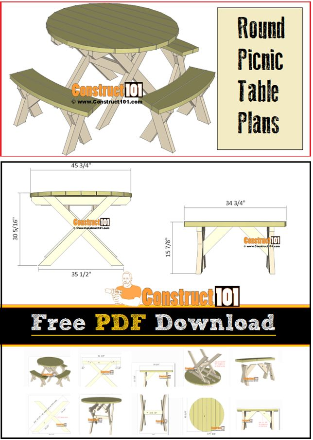 Round picnic table plans, garden table, free PDF download.
