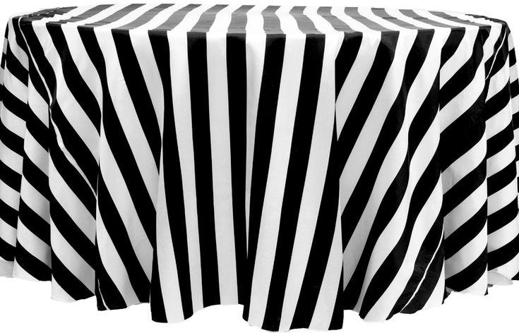 """Stripe 120"""" Satin Round Tablecloth - Black & White ● As Low as $13.99"""