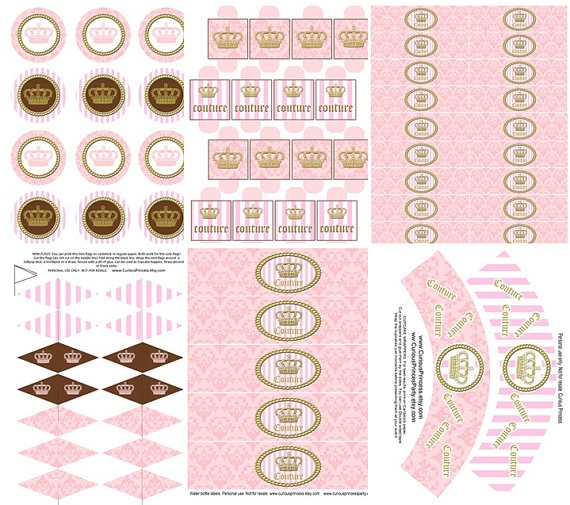 COUTURE inspired party kit printable in pink by curiousprincess, $19.99