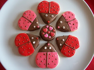 Good idea for your baby showere Stacey!!   ladybug heart cookies