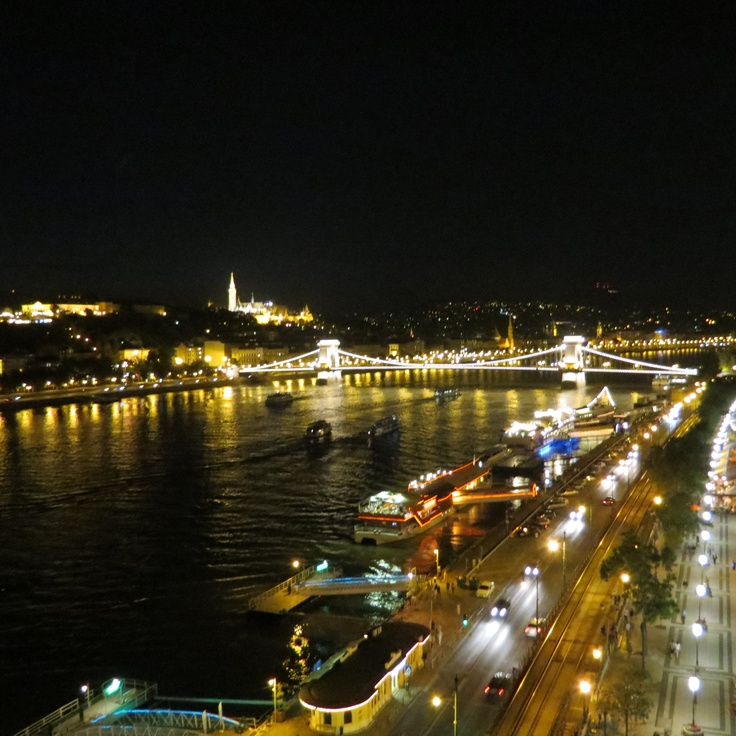 Budapest view at night from atop the Marriott Hotel. Buda and Pest, which are separated by the river Danube.  The number of historical monuments and landmarks make it one of the most visited cities on the continent. It is regarded as one of the top places to live in the world. commonsensesuccess.net
