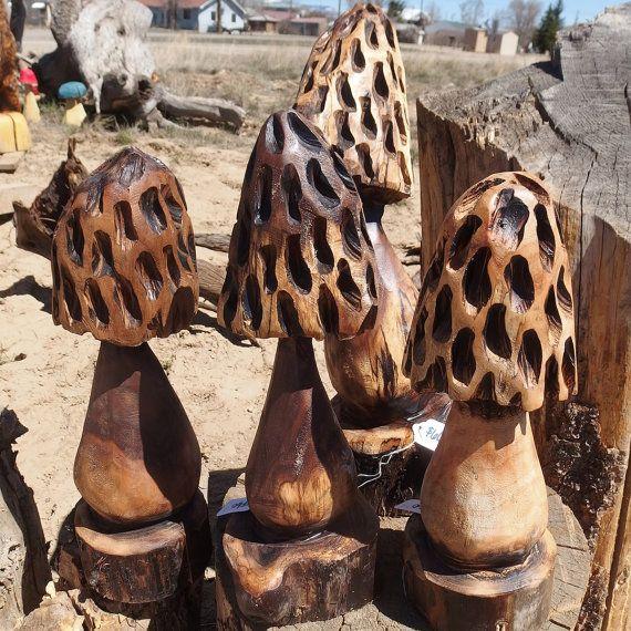 Morel mushrooms carved walnut by woodzwayz