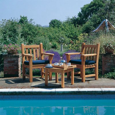 London Teak Armchair Companion Set From Posh Garden Furniture.