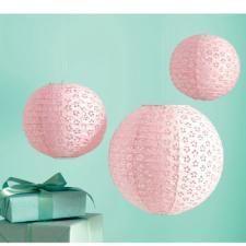 Martha Stewart Pink Eyelet Lanterns - Set of Three