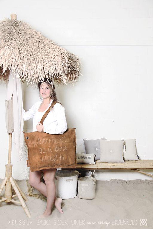 Zusss l Ideale canvas tas voor een dagje strand, olijf l www.zusss.nl