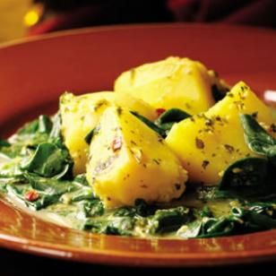 Spicy Stewed Potatoes & Spinach with Buttermilk (Aloo chaas) Recipe