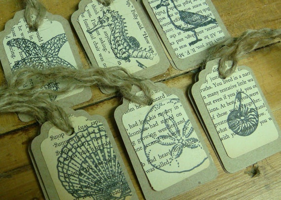 Beach Sea Shell Gift Tags  Natural and Vintage by CastawaysHall