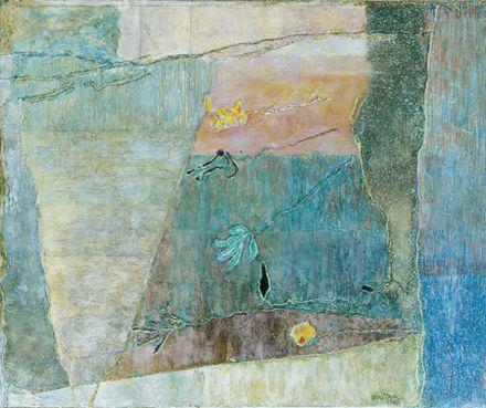 Szürke hátterű művirág, 1980-8, olaj, vászon, 47 x 57 cm, magángyűjtemény