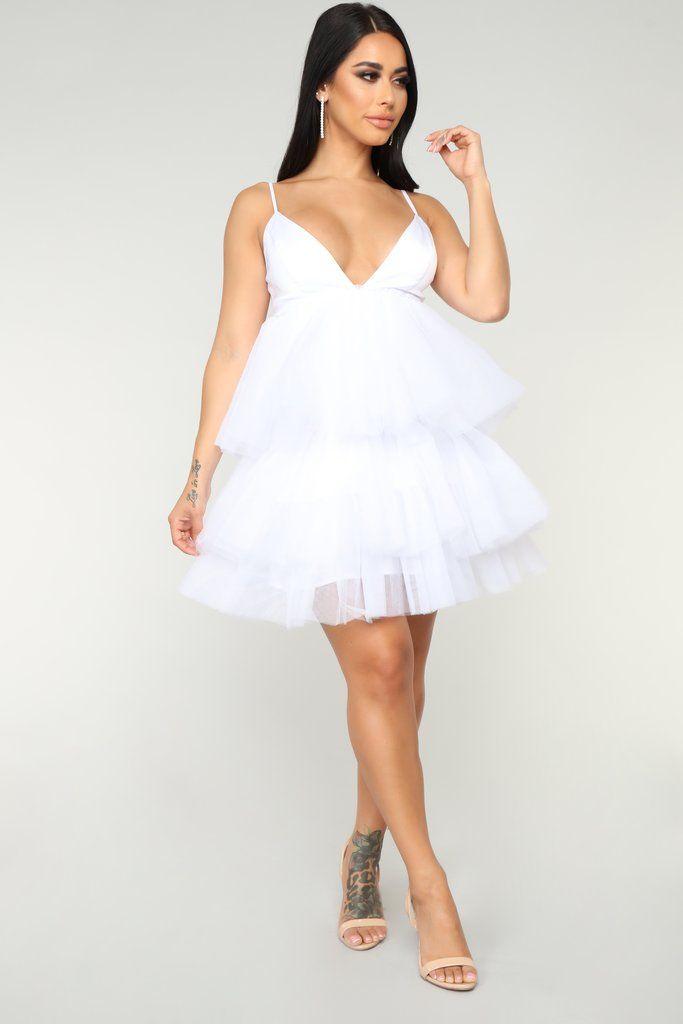 She Bad Ruffle Dress , White