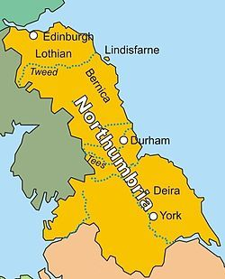 "The Kingdom of Northumbria (/nɔrˈθʌmbriə/; Old English: Norþhymbra rīce, ""kingdom of the Northumbrians"") was a medieval Anglian kingdom, in what is now northern England and south-east Scotland, becoming subsequently an earldom in a unified English kingdom. The name reflects the approximate southern limit to the kingdom's territory, the Humber estuary."