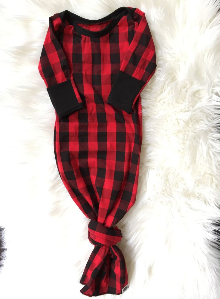 RED & BLACK BUFFALO PLAID Knotted Baby Gown & Knot Hat Set