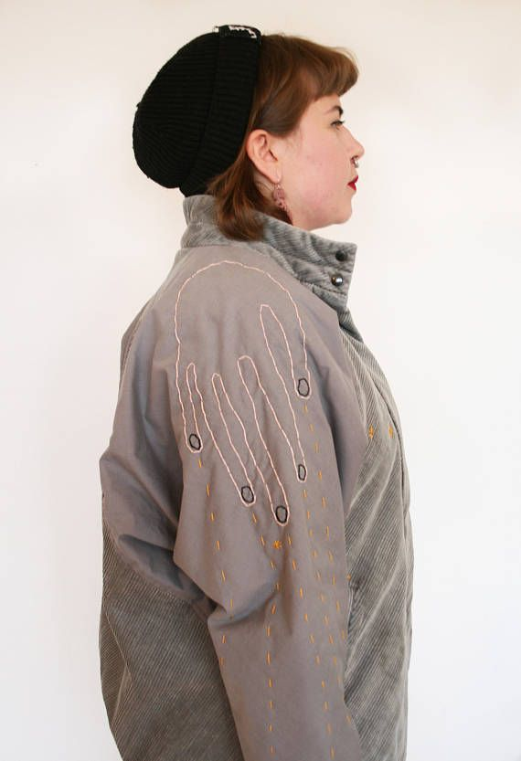 Hand embroidered second hand jacket by Pimped Rägs