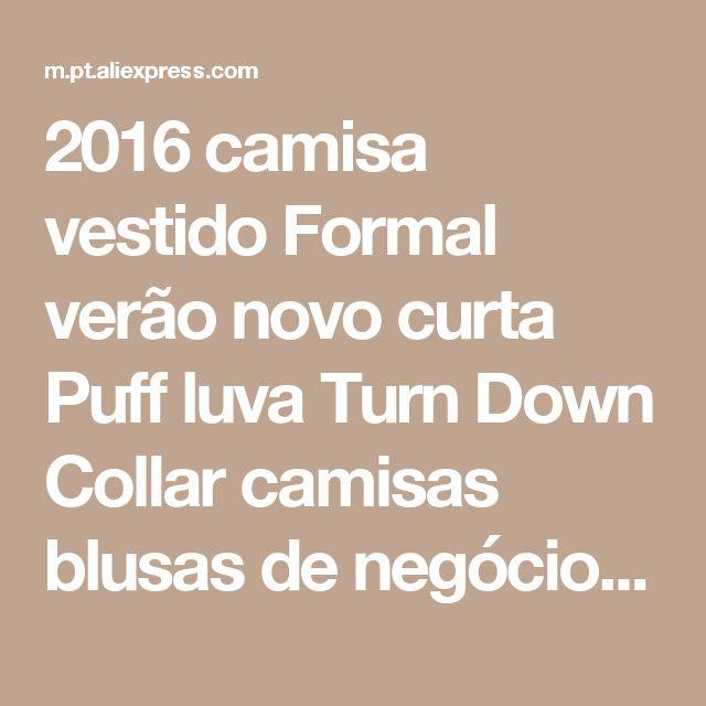 2016 camisa vestido Formal verão novo curta Puff luva Turn Down Collar camisas blusas de negócios escritório camisas topos de cuidados de fácil Loja Online   aliexpress móvel