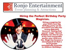 Since 1974 Ronjo Entertainment is one of the most respected talent agencies on Long Island, New York. We are a recognized entertainment specialist and coordinator for event and party planning of all sizes.  http://ronjoentertainment.com/
