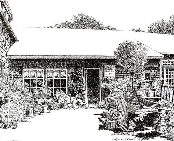 """Original Pen and Ink drawing of """"The English Trunk Co Antique shop"""" on Nantucket Island .  $150.00"""