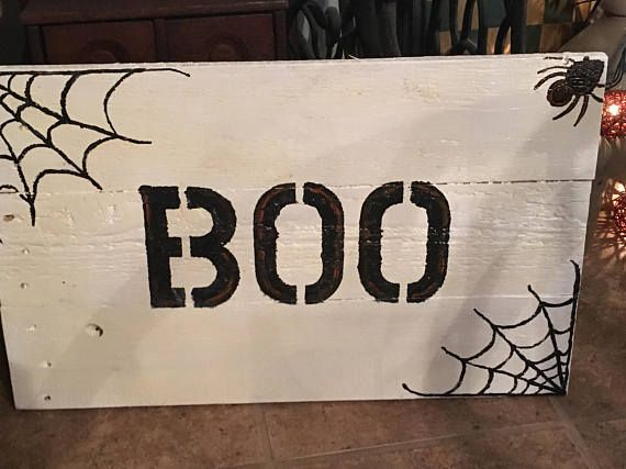 Boo Halloween Sign Rustic Halloween Pallet Sign Spider