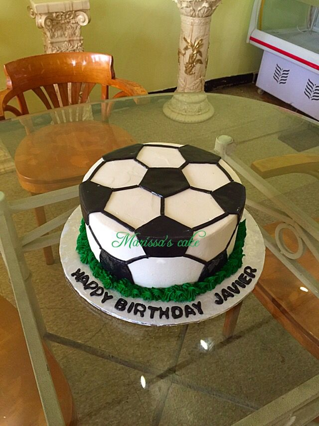 Soccer ball birthday cake. Visit us Facebook.com/marissa'scake or www.marissascake.com