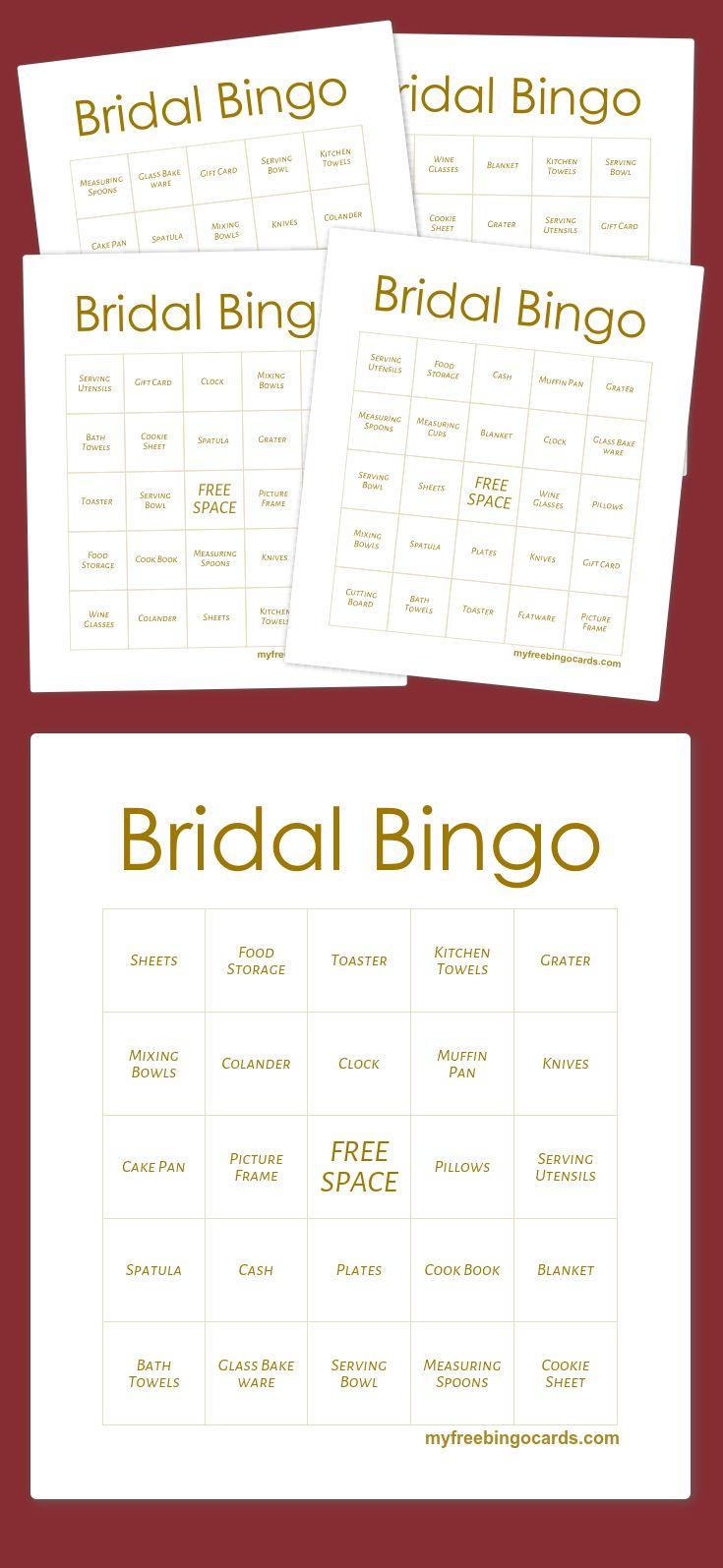 Bridal Bingo · Bingo Card GeneratorBridal BingoClassroom GamesFree Printable Bingo CardsGeneratorsMake Your OwnBridal Showers
