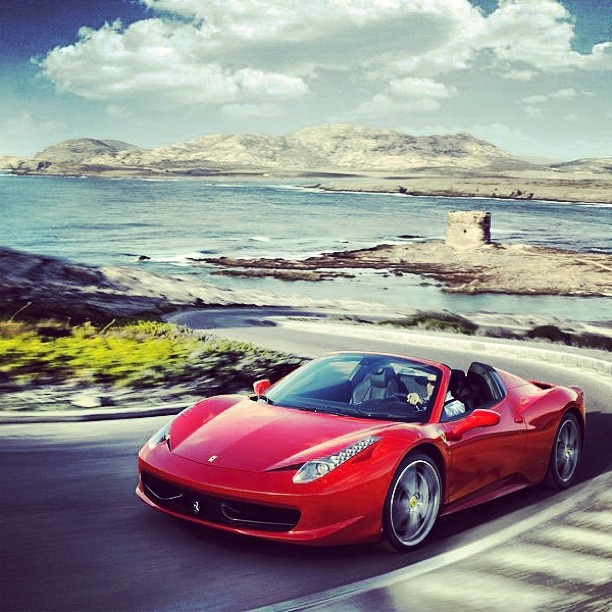 Ferrari 458 Italia in Dramatic Coastal Scenery