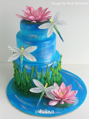 Dragonflies and Waterlillies Cake