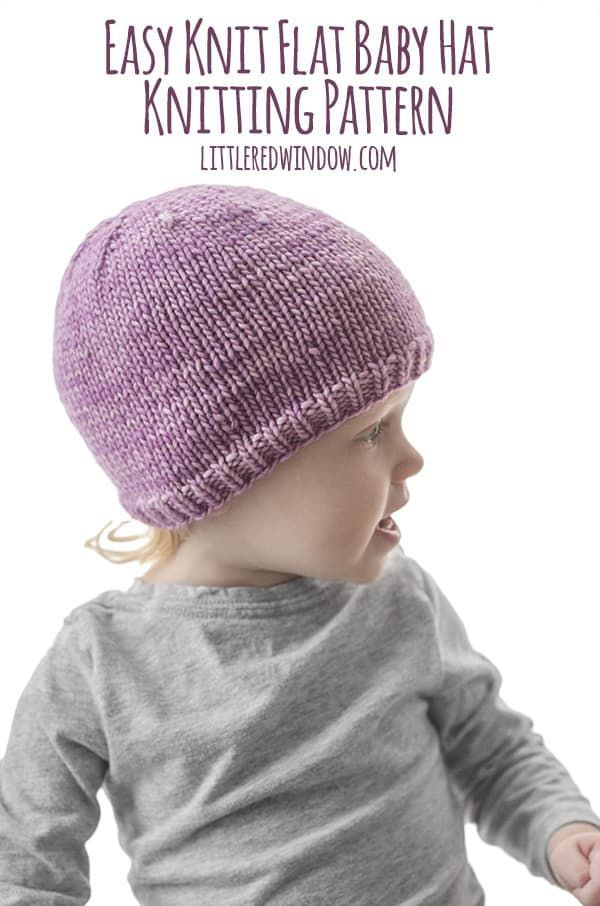 130f42e514c This super easy knit flat baby hat knitting pattern is perfect for beginners  or anyone who doesn t like knitting in the round and it includes  instructions ...
