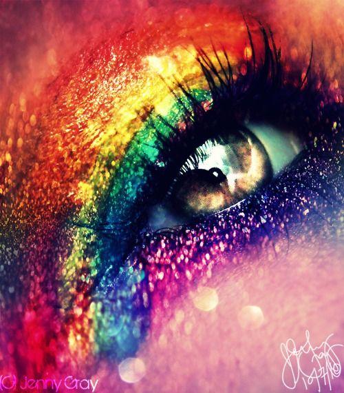 Rainbow Glitter Eyes In 2020 Rainbow Eye Makeup Eye Art