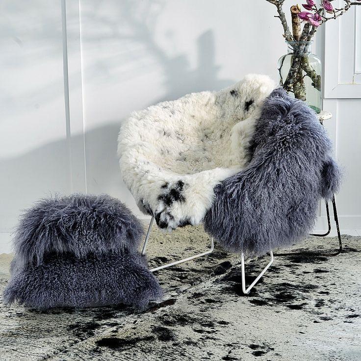 Icelandic Shorn Sheepskin Throw - Natural White with Black Spots