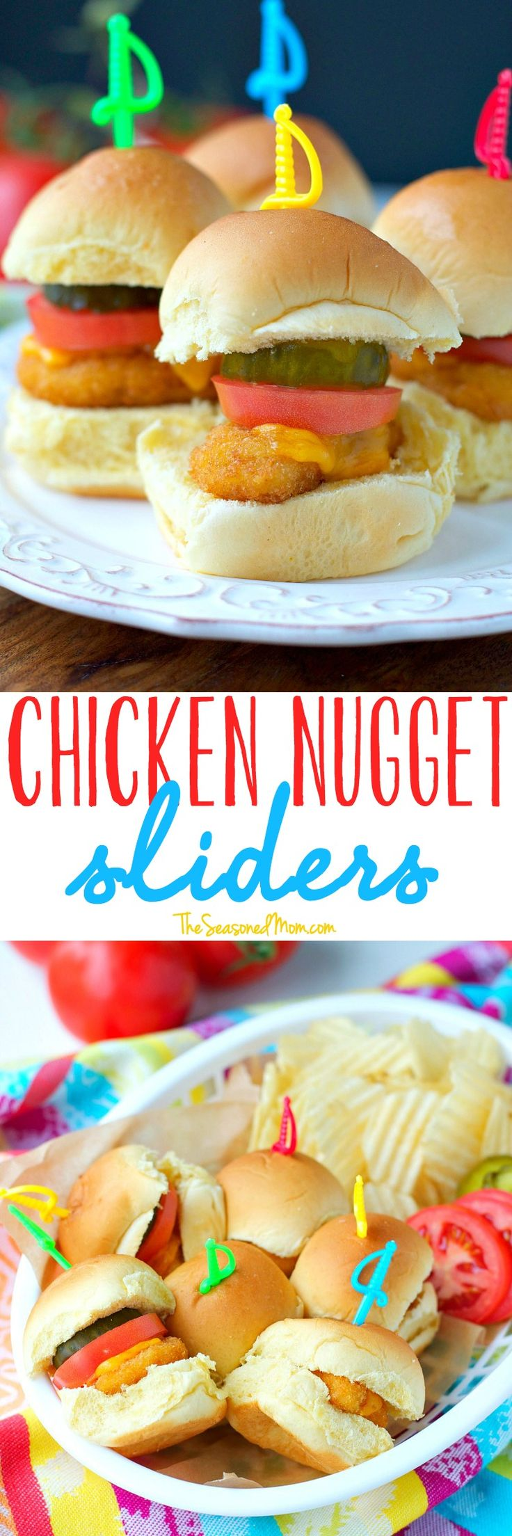 These 3-Ingredient cheesy Chicken Nugget Sliders are an easy football party food, appetizer, or tailgating snack that your hungry fans will devour! They also make weeknight dinner recipes EASY!