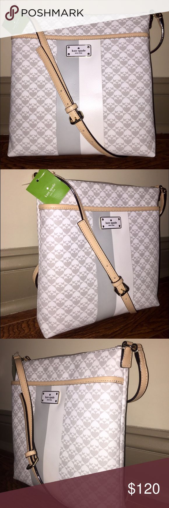 NWT Kate Spade Keisha Cross-body Purse! Grey/White NWT kate spade Bags Crossbody Bags