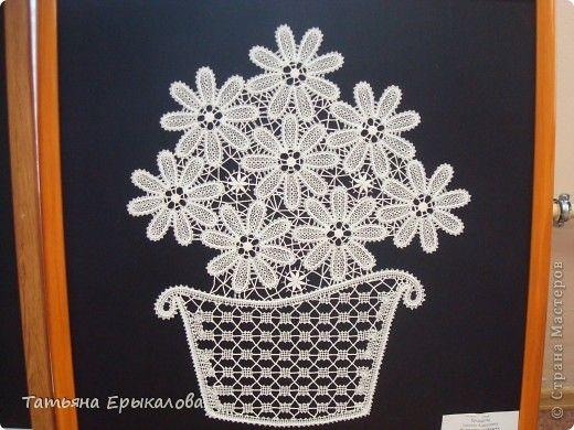 Картина панно рисунок Плетение на коклюшках Панно Ромашки в корзинке Нитки фото 2