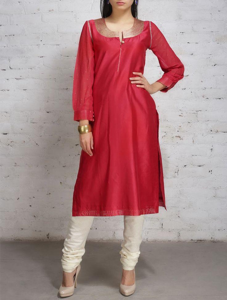 Buy Red Gold Zari Embroidered Chanderi Georgette Kurta Apparel Tunics & Kurtas Online at Jaypore.com