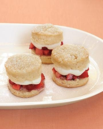 Strawberry shortcakes sandwiches with fresh berries and rose-water cream