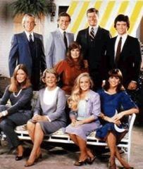 """After Jock's Death pictured are Ray, Cliff, J.R., Bobby, Donaa, Miss Ellie, Lucy, and Pamela"" - Dallas TV Show - Bing Images"