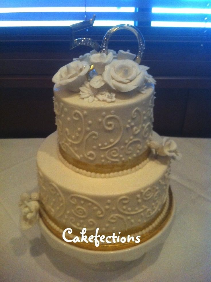 Buttercream Cake Decorating Designs | 50th Anniversary Cake - Buttercream