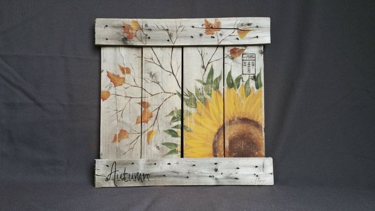 CLEARANCE SALE Fall sunflower Reclaimed by TheWhiteBirchStudio
