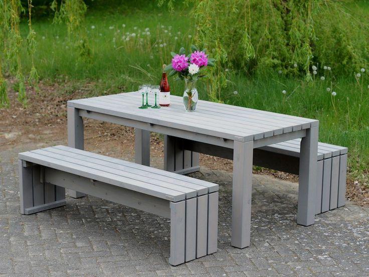 Gartenmöbel Holz Set 3, Transparent Geölt Grau - Made in Germany