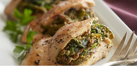 Take a look at this recipe (roasted pepper, spinach and matzo stuffed chicken breast)