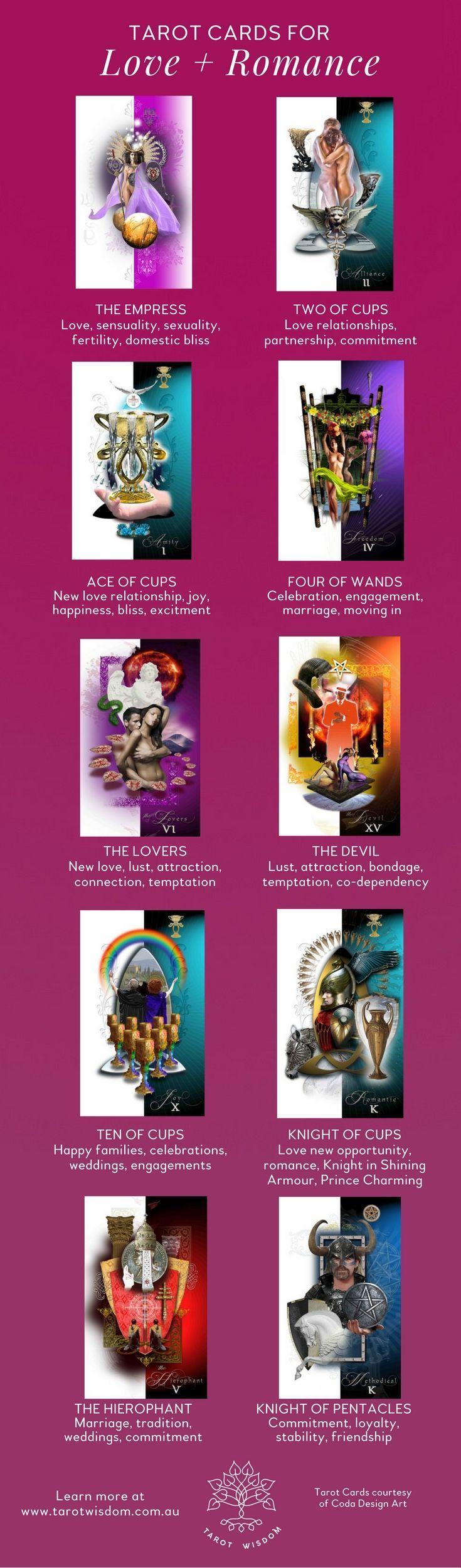 The top #Tarot Cards for #Love + Romance. To learn more about Tarot visit the website: www.tarotwisdom.com.au #tarotcardscheatsheets