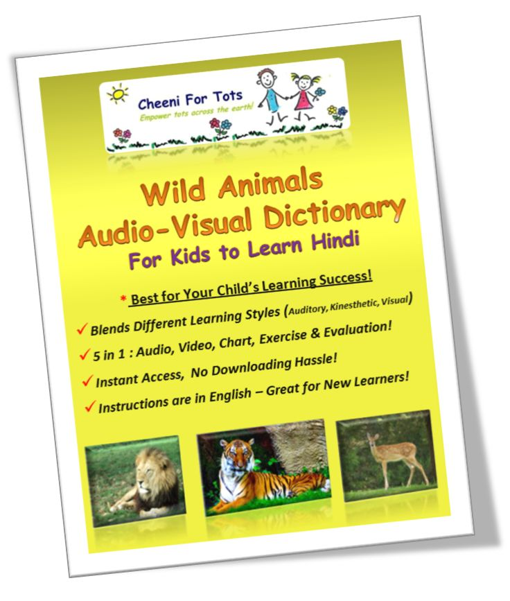 Wild Animal Audio-Visual Dictionary is an an  interesting and modern way for kids to learn associations via Audio,Video, Chart, Exercise & Evaluation! #bilingual #multilingual #languagelearning #kids #hindiforkids #wildanimalnames