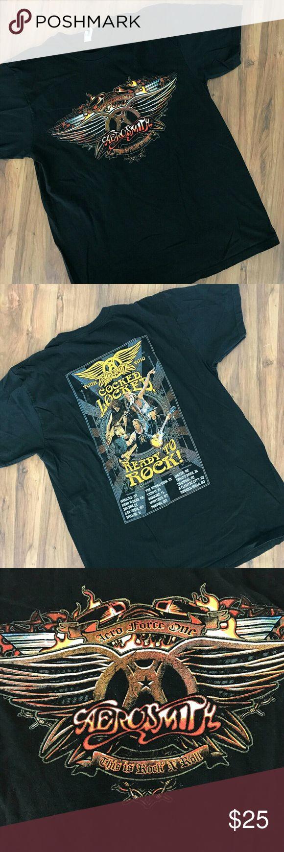 Aerosmith Tour 2010 Concert T shirt Adult Size Sz Color         : Black Style          : T shirt Size           : Adult Medium Brand        : None  Inventory  : A94 B1 Alstyle Shirts Tees - Short Sleeve