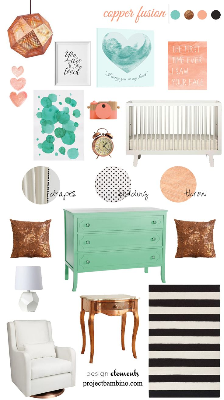 enter GIVEAWAY 12x12 custom canvas value $65 on blog! Copper, coral and mint nursery design