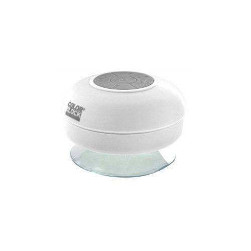 Features  Altavoces Bluetooth para la ducha Micrófono integrado Distancia de alcance de Bluetooth: de hasta 10 m Hasta 6 horas de tiempo de reproducción   http://altavocespara.com/bluetooth/ducha/bigben-colorblock-altavoz-para-ducha-blanco/