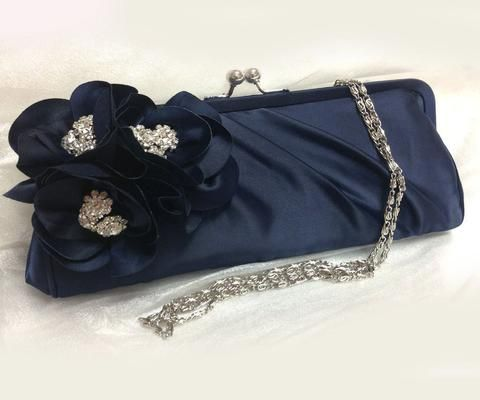 Wedding clutch, Bridesmaid clutch, Navy blue clutch, evening bag, Bridesmaid bag, crystal clutch, flower bag - Glam Duchess - 3 http://glamduchess.com/collections/bridal-clutches?page=2