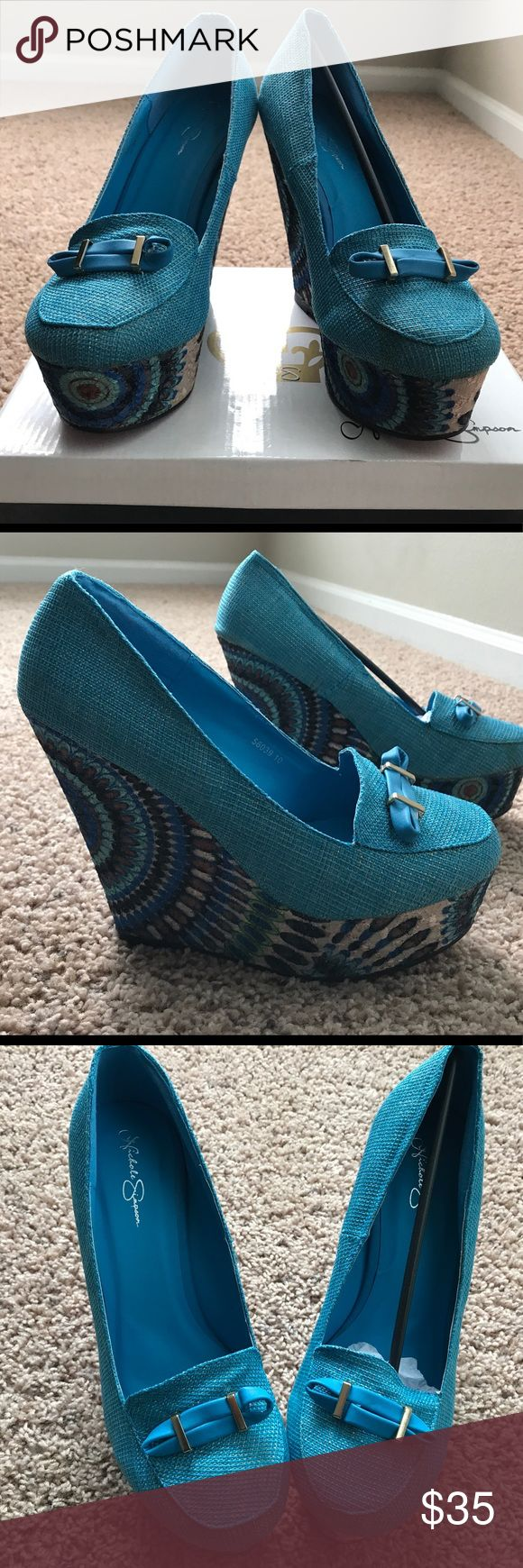 NEW!!!! Turquoise Wedge Loafers with Bow Reasonable Offers Accepted.  Turquoise Wedge Loafers with design wedge. Heel approx 3 inches with approx two inches platform.  The Loafers have a turquoise ad gold sparkle of color. Very cute. Brand new. Reasonable offers accepted. Nicole Simpson Shoes Wedges