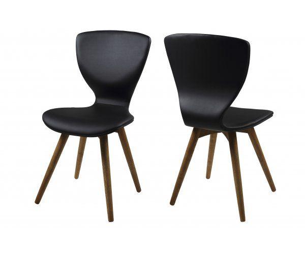 Gongli Czarne Krzesło Skóra Ekologiczna Drewniane Nogi - 519zl
