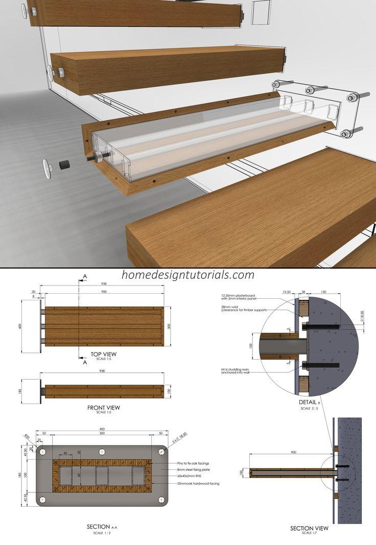 Detalhe de fixação escadaria em balanço   – Interior/Architecture..