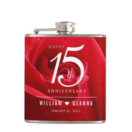 Elegant 15th Rose Wedding Anniversary Celebration Hip Flask - trendy gifts cool gift ideas customize