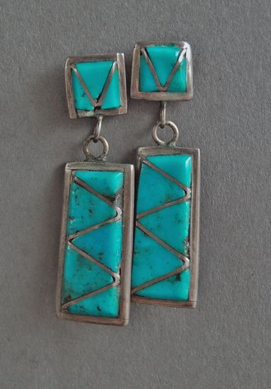 Turquoise Earrings, c. 1960  Zuni Jewelry  1.5 x .25 inches  turquoise, sterling silver  $ 75
